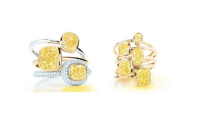 Lujosos anillos en diamantes amarillos y blancos. Fotos: Tiffany & Co.