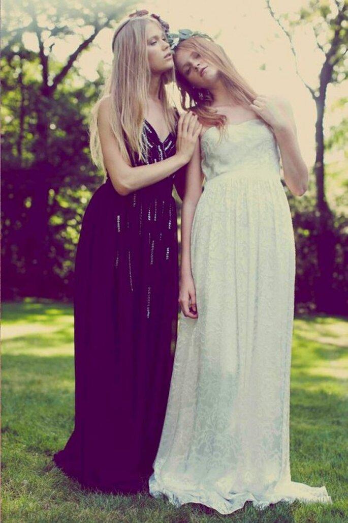 Vestidos de fiesta con siluetas maxi en colores negro y blanco - Foto Erin Fetherston