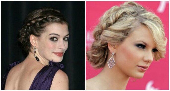 I raccolti con treccia sono gettonatissima anche tra le star. A sinistra Anne Hathaway e a destra Taylor Swift. Foto Youtube