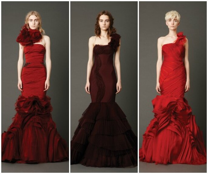 Modelli a sirena in rosso per una sposa che vuole osare. Vera Wang Bridal Collection 2013. Foto www.verawang.com