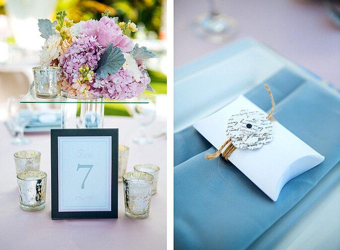 Combina tonos rosa con colores neutros para la decoración de tu boda. Foto: Closer to Love Photographs