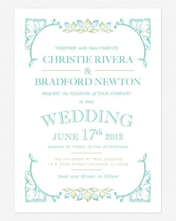 Invitación de boda en color turquesa. Foto: Love vs. Design