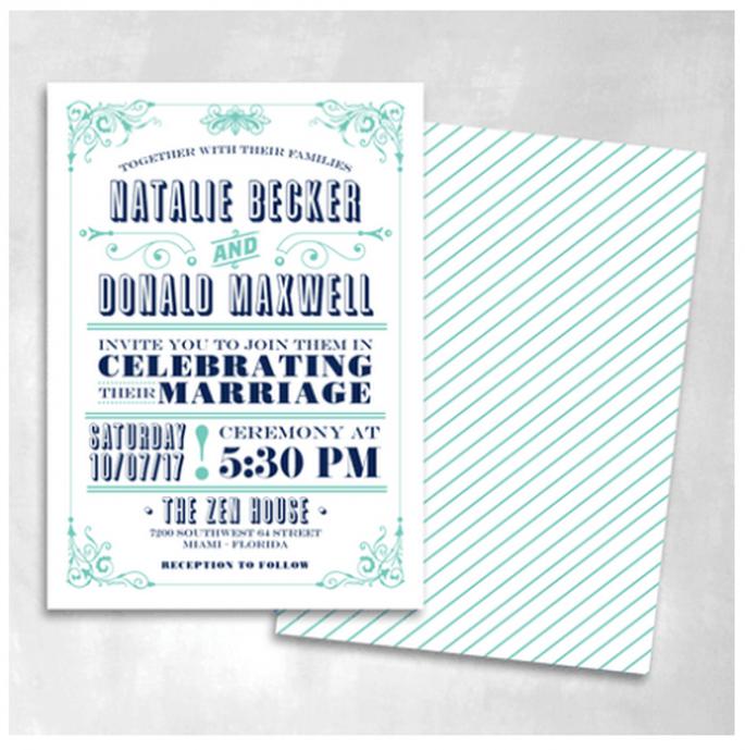 Inspírate en anuncios vintage para el diseño de tus invitaciones - Foto Smitten On Paper