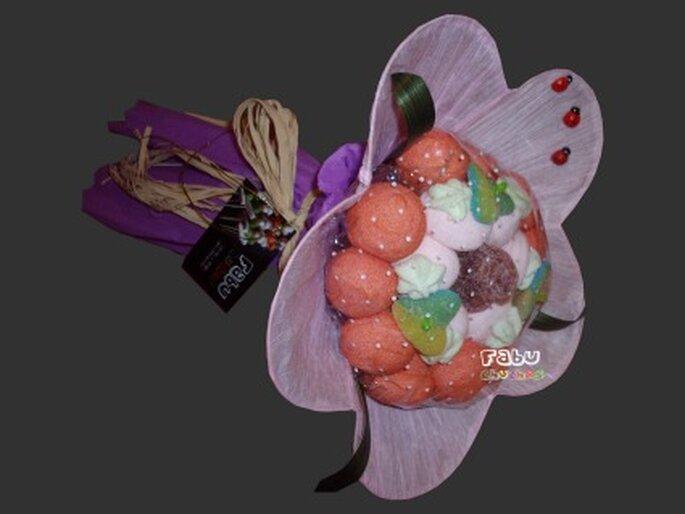 Ramo de novia con 20 chuches + Rosa de gelatina - Fabu Chuches