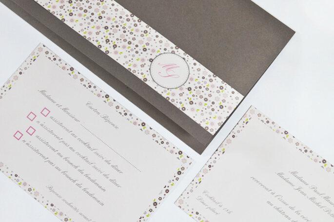 Faire-part de mariage triptyque long couleur taupe avec bague & liberty 2013 pour l'Art du Papier - Crédit photo : l'Art du Papier