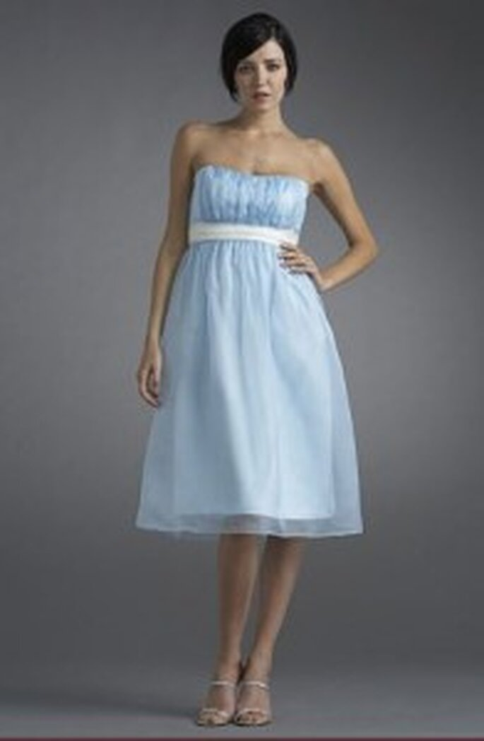 This ice blue bridesmaid dress is a wintery but cute look