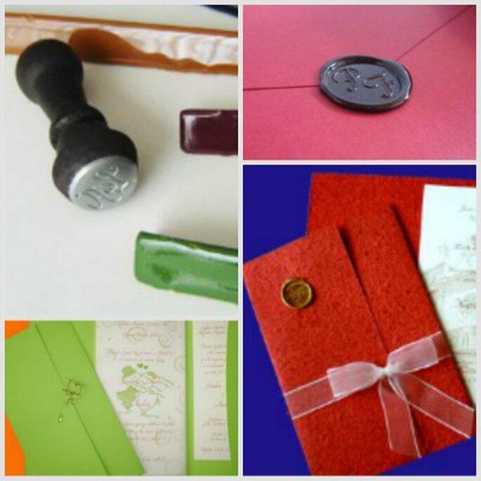 Detalles encantadores en lacre para los sobres de tus invitaciones. Fotos: Casa Papelera el Cedro