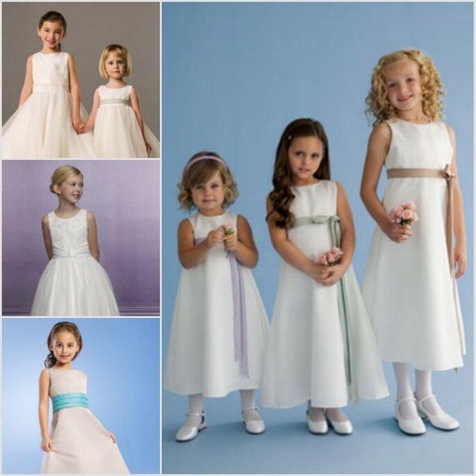 Diferentes estilos para pajecitas en tonos hueso y blanco. Fotos: Orquideas Dresses