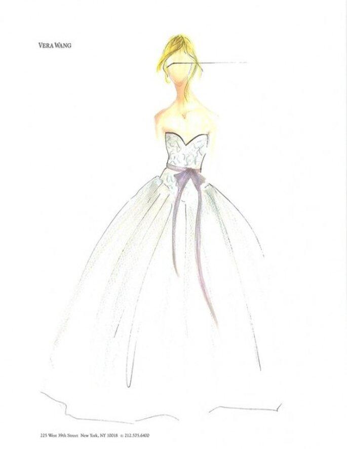 Boceto de vestido de novia corte princesa con lazo en color rosa - Foto Vera Wang Facebook