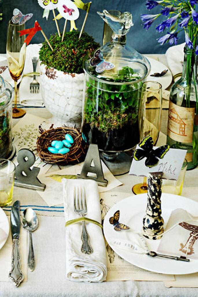 Mira que cosas más bonitas para decorar las mesas de la boda ofrece BHLDN