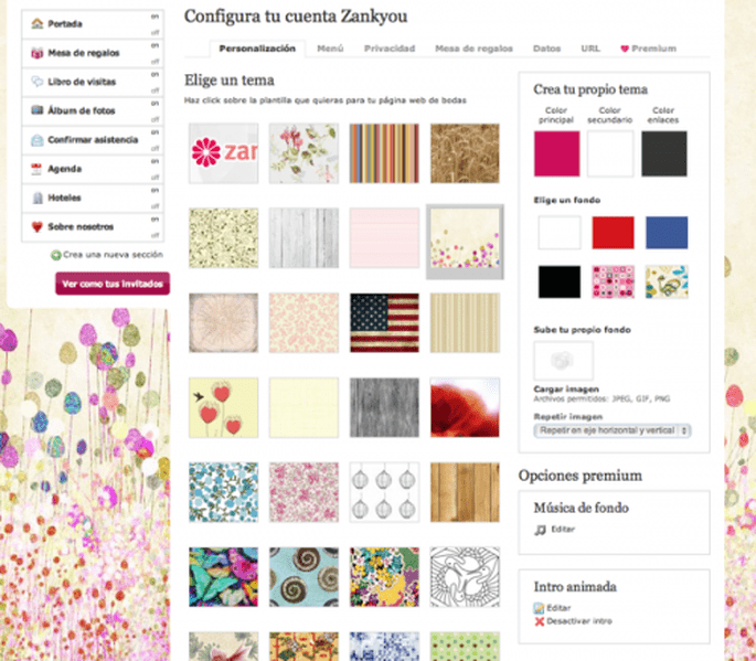 Configura y personaliza el diseño de tu página web - Foto Zankyou