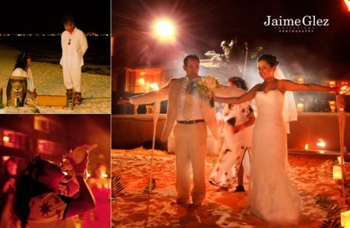 Ceremonia maya para realizar una boda en playa. Foto Jaime Glez