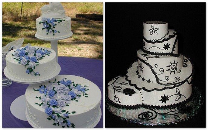 Torta constrati separati decorata con fiori blu. A destra, torta decorata con dettagli neri