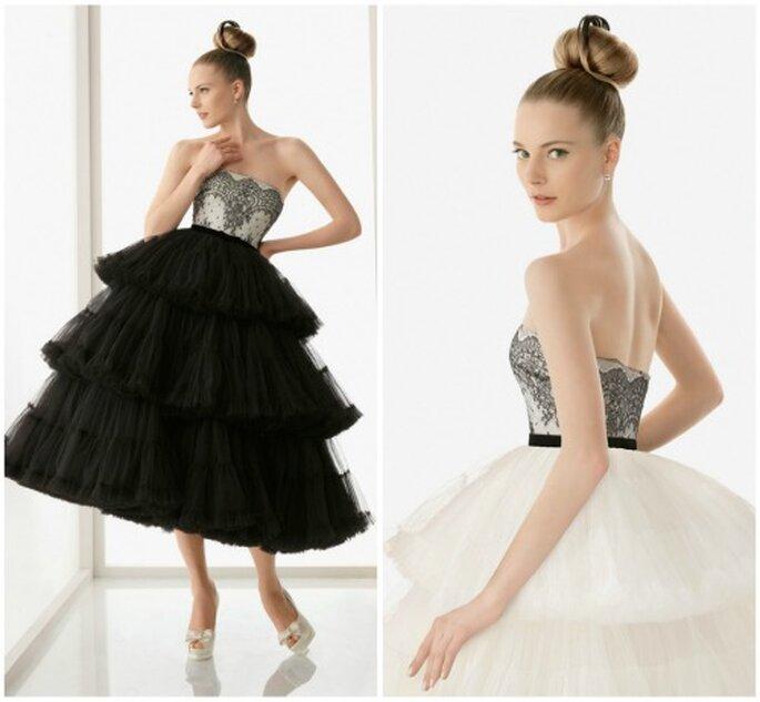 Para novias atrevidas. El mismo vestido de novia con falda negra o falda blanca y al tobillo. Foto Rosa Clará