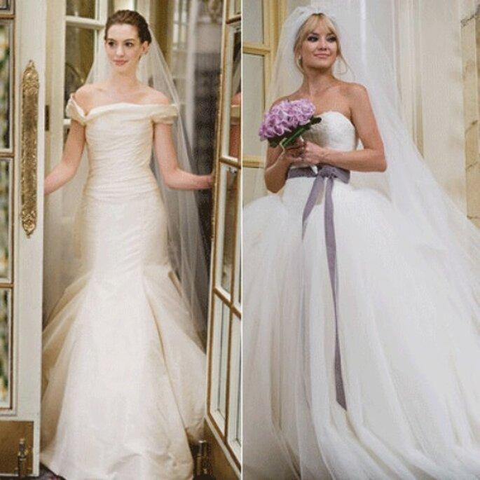 """Kate Hudson, a destra, indossa un modello esclusivo di Vera Wang. A sinistra Anne Hathaway. Sono protagoniste del film """"Bride Wars"""""""