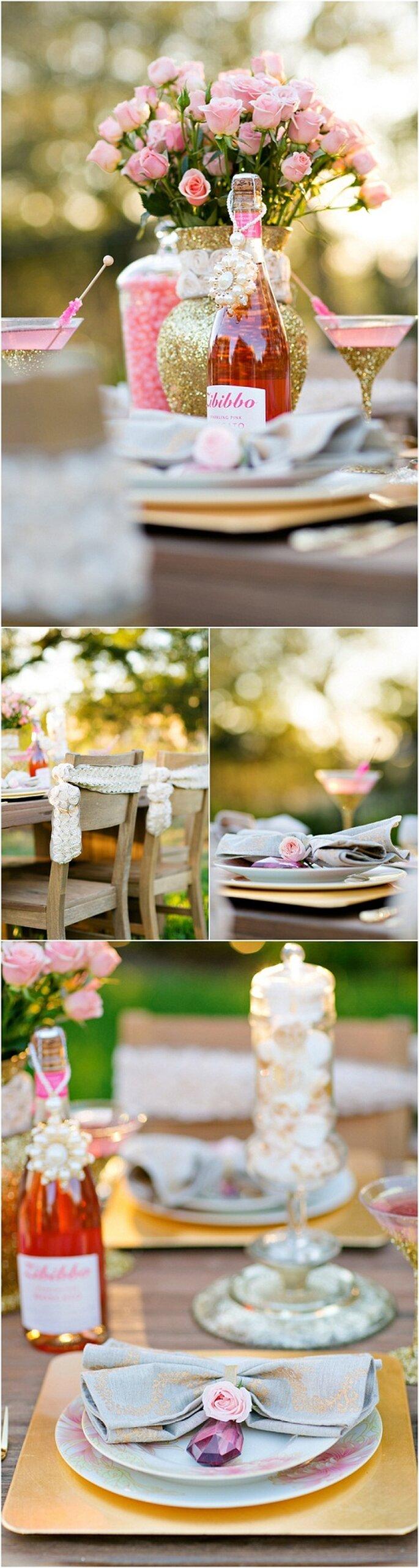 Copas de martini y centros de mesa con detalles dorados - Foto Set Free Photography