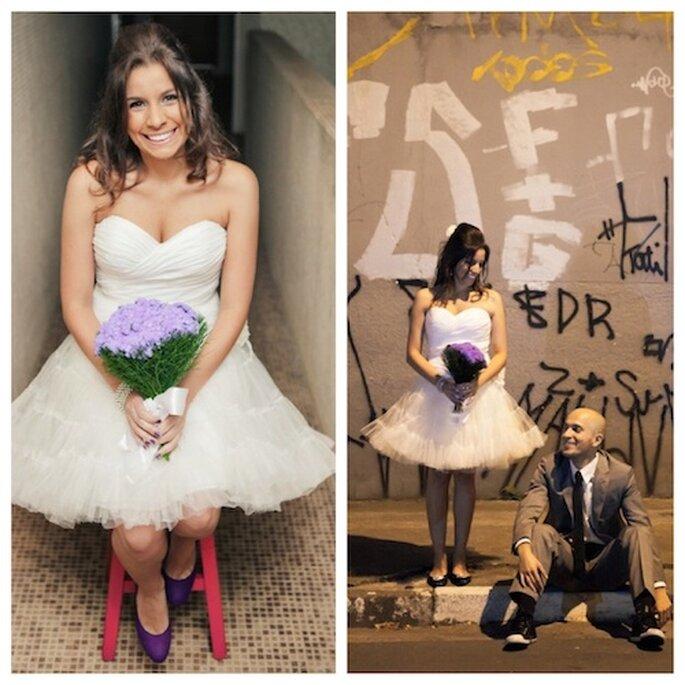 A noiva Camis Pires linda com seu vestido de noiva curto e moderno. Foto: Flávia Valsani.