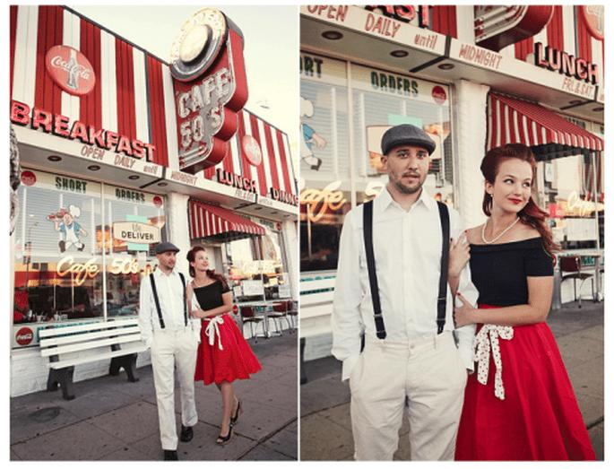 Elige la ambientación de los años 50 para tu fiesta de compromiso - Foto AnokiArt Photography