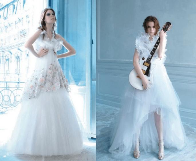 Vestidos de novia modernos en color blanco con inspiración rockera - Foto Max Chaoul