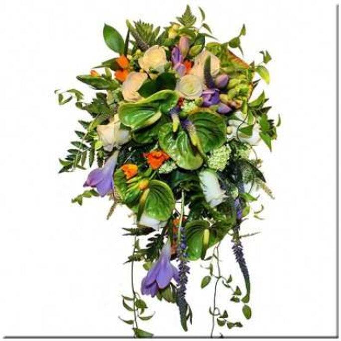Ramo silvestre con caída en tonos verdes, naranjas y lilas combinando flores de anthurium, rosas, ornitholagum, verónicas y fresias. Ideal para llevar con un traje de corte clásico, con cola y velo largo. Reservado solo para novias muy altas.