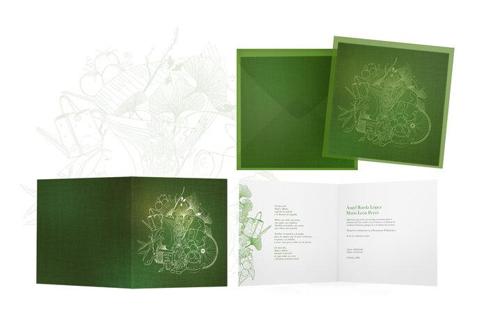 Invitaciones de boda donde el verde es protagonista