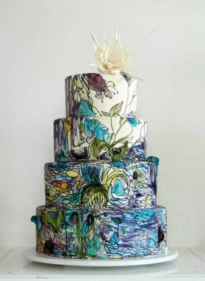 Torta ispirata alle lampade Tiffany, realizzata da Maggie Austin Cake