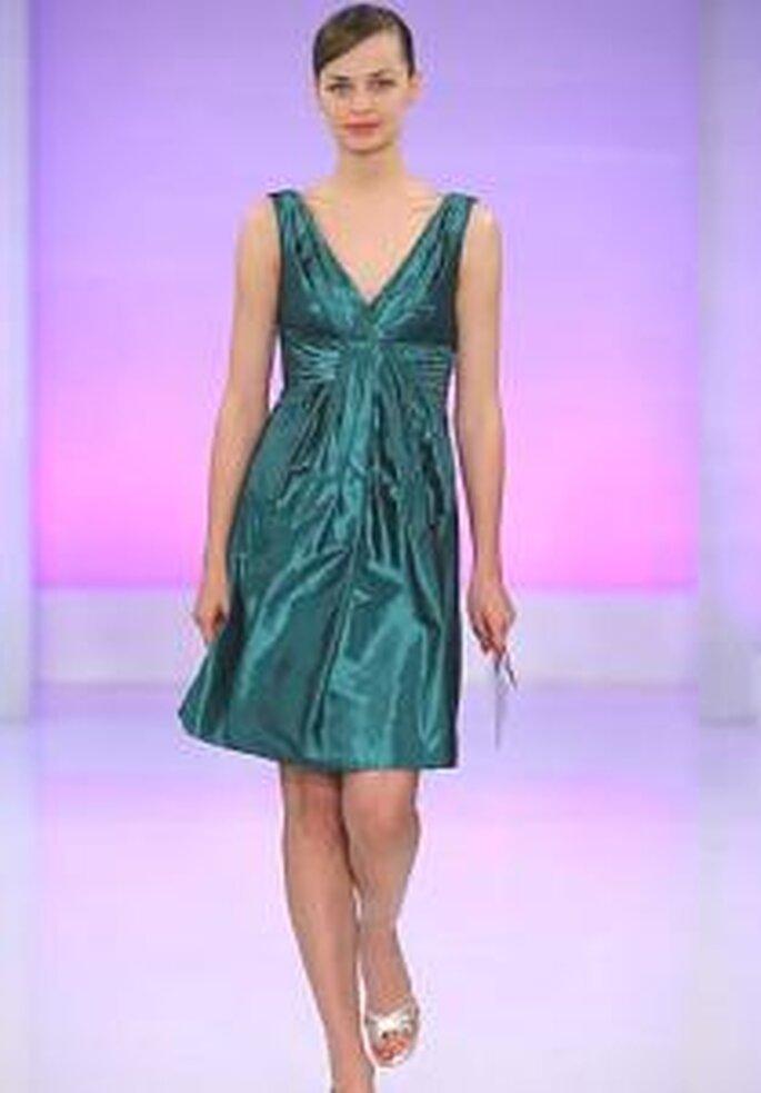 Cymbeline 2009 - Vestido corto turquesa en satén con escote en V