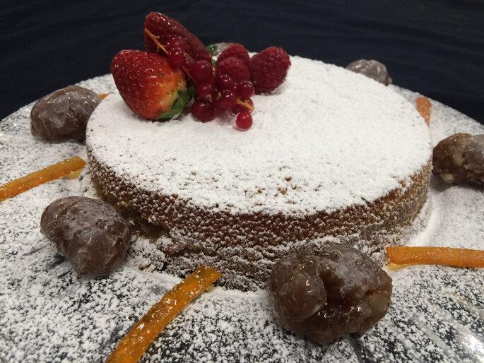 Tarta de castaña y cuscús. Foto: Aldovea Catering