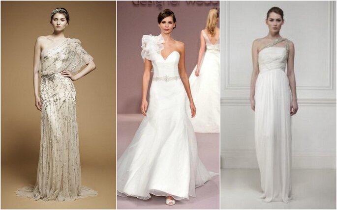 Vestidos de novia de un solo hombro. Fotos: Jenny Packham, Ritva-Heavenly y Matthew Williamson