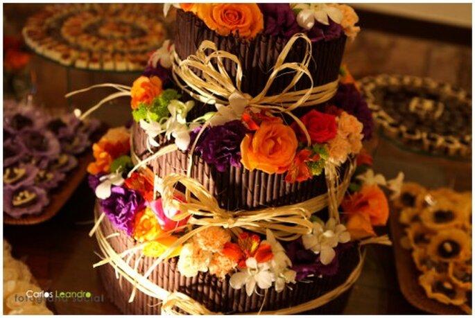 Gâteau au chocolat comme dessert de mariage. Photo: Carlos Leandro.
