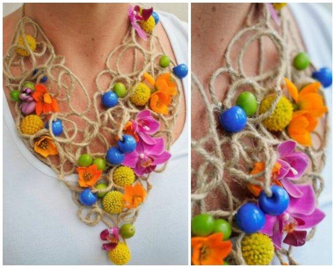 Kolorowa biżuteria ze sznurka i kwiatów