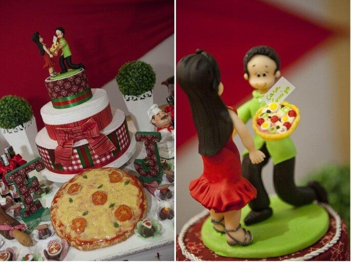 Festa di fidanzamento a base di pizza! Gli sposi hanno scelto un buffet di pizze e tutto ciò che concerneva l'argomento. Foto: Marcelo Depolli