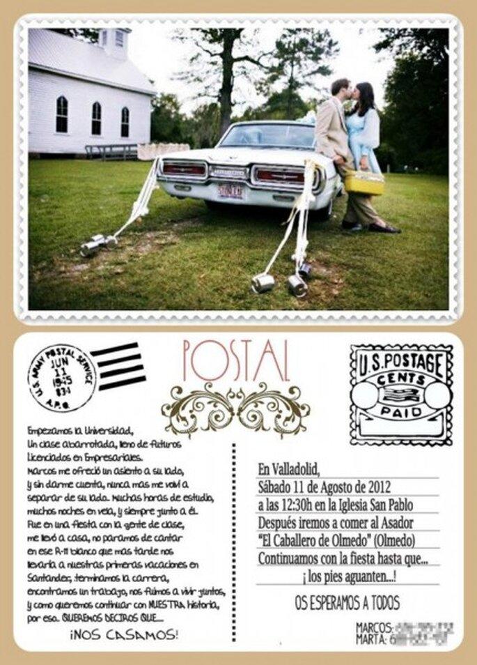 Invitación de boda estilo postal de @SinRedio