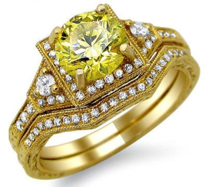 1.46 carati di diamante giallo montati su oro giallo. Foto: Front Jewelers