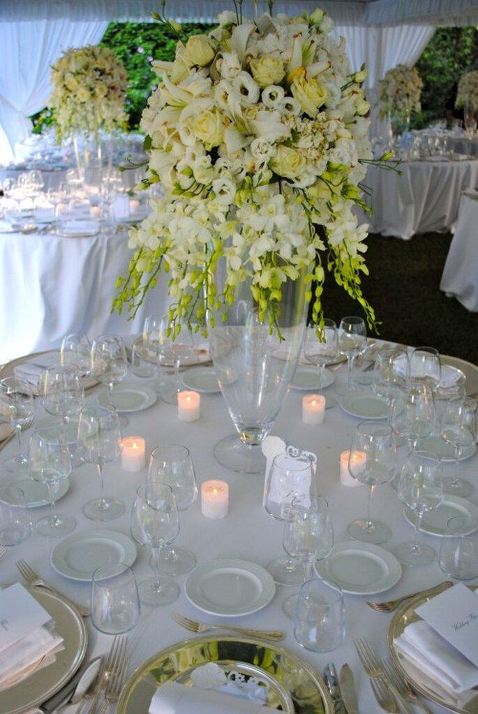 Decoración de la mesa de boda.  Foto de Whitechicwedding