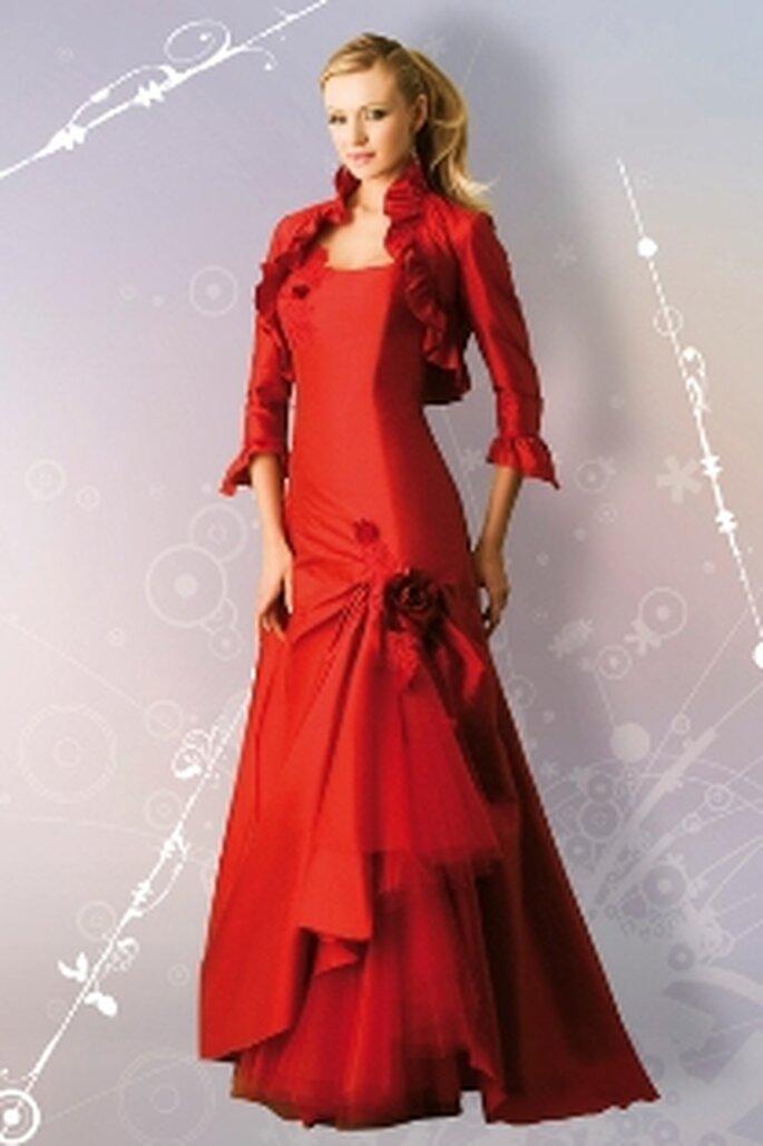 Orchidée, robe fourreau de soie garnie de tulle et fleurs bolero assorti