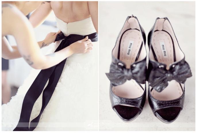Accesorios en color negro para complementar tu look de novia - Foto Simply Bloom