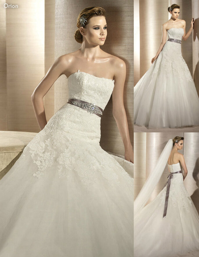 Vestido de novia de encaje con un elegante cinto - Foto Atelier Diagonal