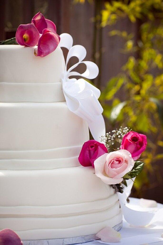 Come fare una torta bianca, ma decorata per un matrimonio in rosa, spettacoli di forme a tema- Foto: Princess Ashley