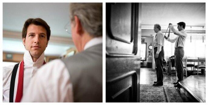 El novio vistiéndose antes de la boda - Fotografía: Jesús Ortiz
