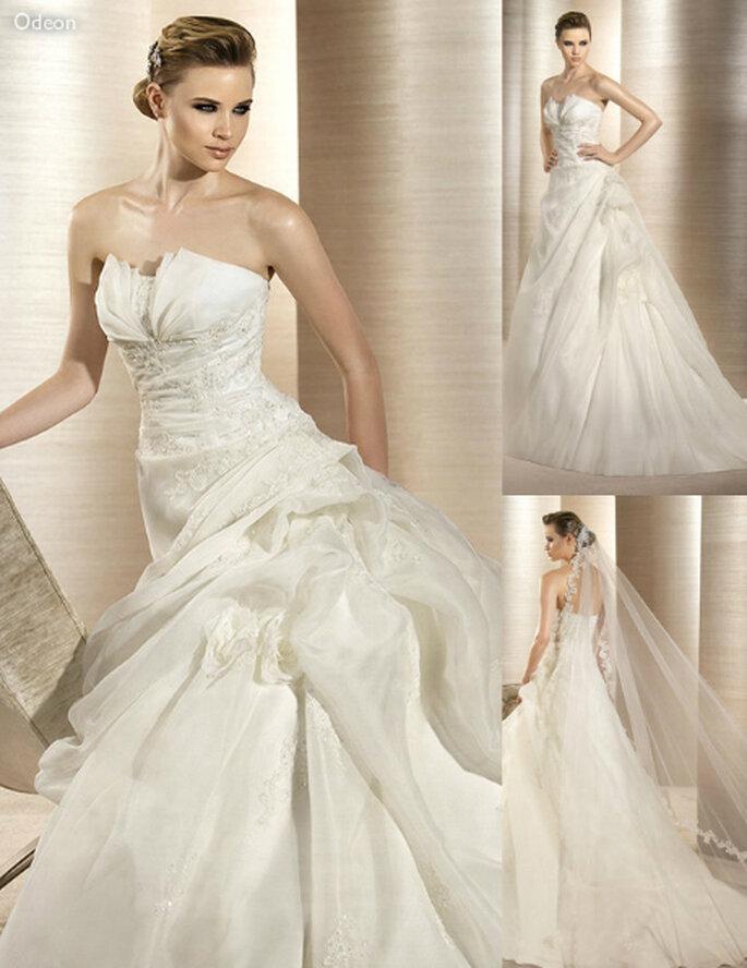 Vestido de novia elegante con detalles y pedreria incrustada - Foto: Atelier Diagonal