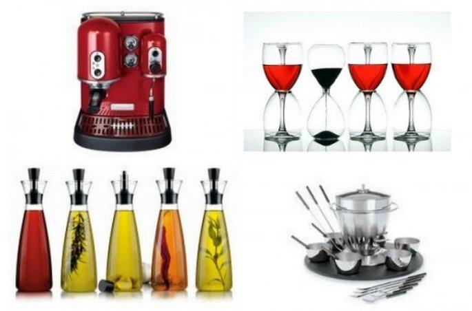 Kulinarische Geschenke zur Hochzeit. Espresso Maschine von Kitchen Aid, Weinpaket - Foto Flickr.com, Öl und Essig von Eva Solo , Fondueset von Blomu