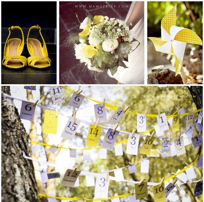 Observa los pequeños detalles que ayudarán a que tu boda goce de color amarillo.  Foto: Mamazelle
