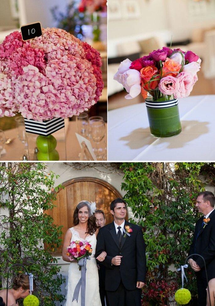 Una decoración con rayas en tu boda - Foto Victor Sizemore