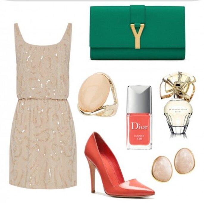 Look ideal para tu despedida de soltera - Fotos vestido y pumps de Alice & Olivia, clutch de YSL, anillo de Dorothy Perkins, aretes de Michael Valitutti, esmalte de Dior y perfume de BCBG