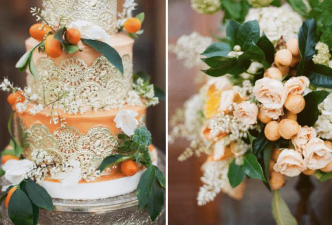 Decora tu boda con tonos naranjas, beige y terracota - Foto This Modern Romance