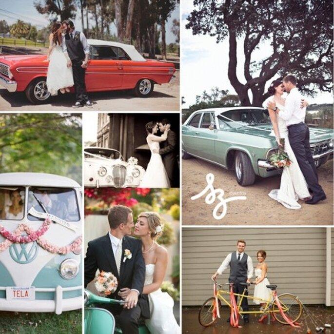 Collage de inspiración para elegir el transporte de tu boda - Fotos weddingchicks.com, weddings.socialdoe.com, flickr.com, the-wedding-industry-awards.co.uk - Diseño de Raisa Torres para SZ Eventos