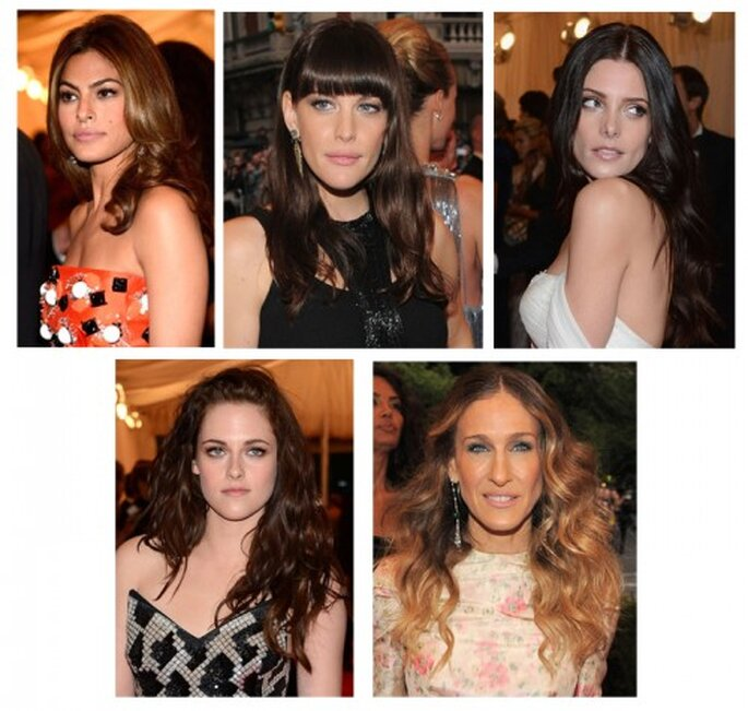 Eva Mendes, Liv Tyler, Ashley Greene, Kristen Stewart y Sarah Jessica Parker en el MET Gala 2012 - Foto Getty