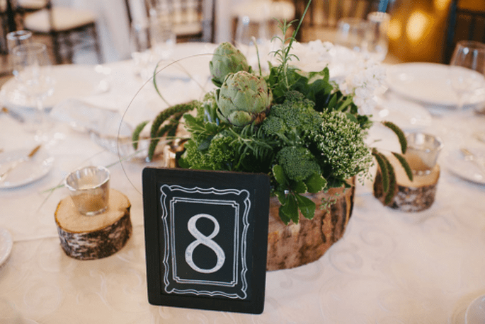 números de mesa para boda. Fotografía Alexandra Roberts