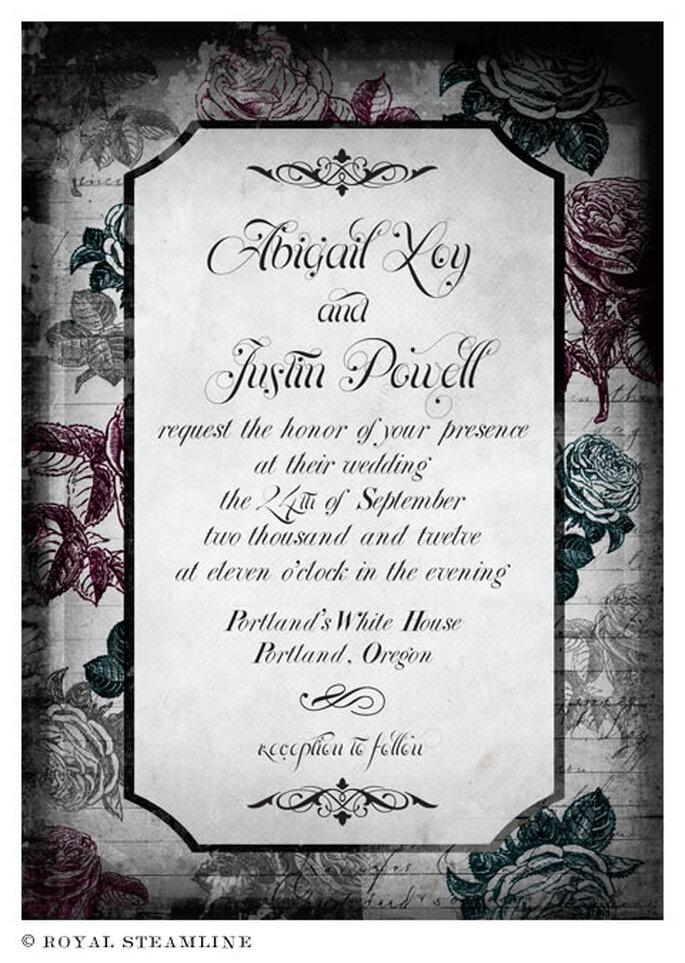 Invitación de boda vintage con estampado de flores - Foto: Royal Steamline